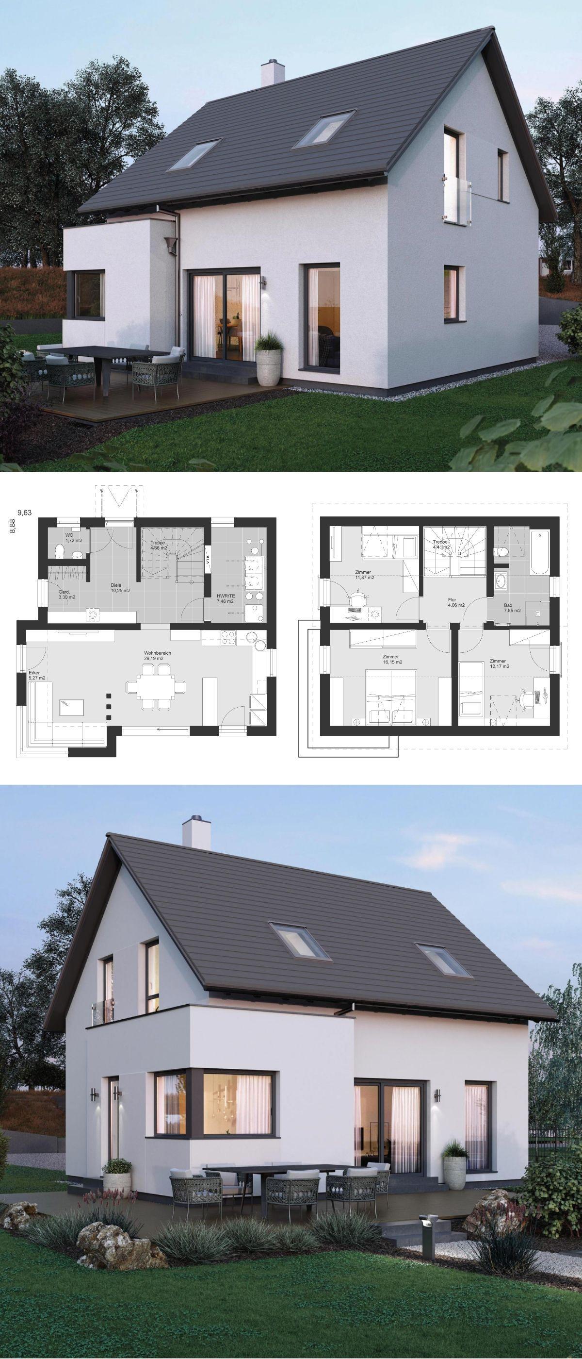 Moderne Häuser Bauen kleines einfamilienhaus architektur modern grundriss mit satteldach
