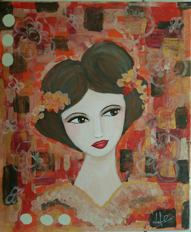 Tableau peinture sur toile portrait de femme lulu acrylique encre technique mixte - Peinture sur visage ...