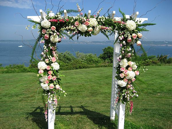 wedding flower arch wedding arch with white hydrangeas and pink roses 9465