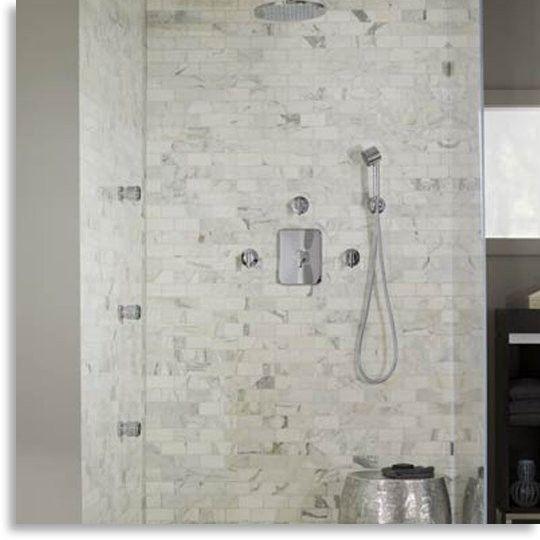 Carrara Marble Mosaic shower stall
