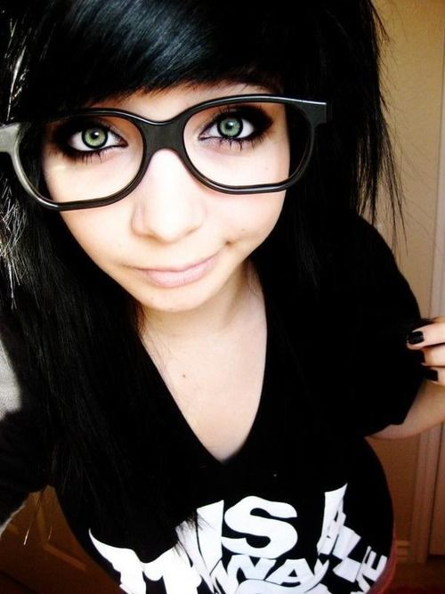 Cute Scene Girl With Hipster Glasses And Emo Hair