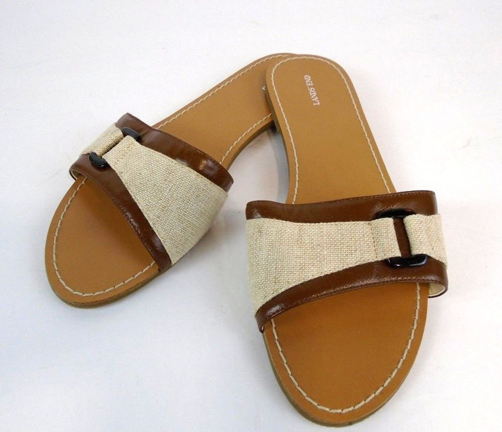 c2a284dda52a3 Lands End Womens Flat Sandals Natural Canvas Brown Leather Size 8 B   LandsEnd  FlatSandals  Everyday