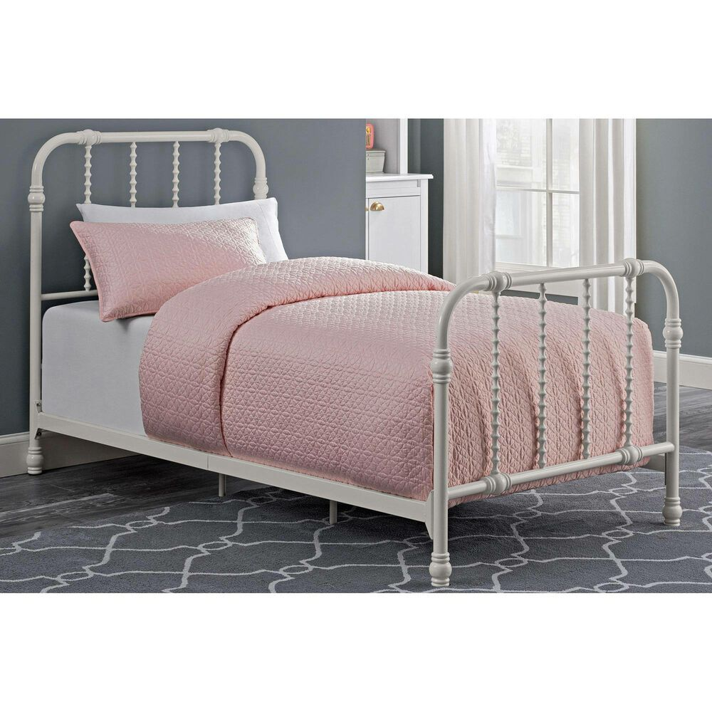 Single Bed Frame Twin White Antique Country Style Metal