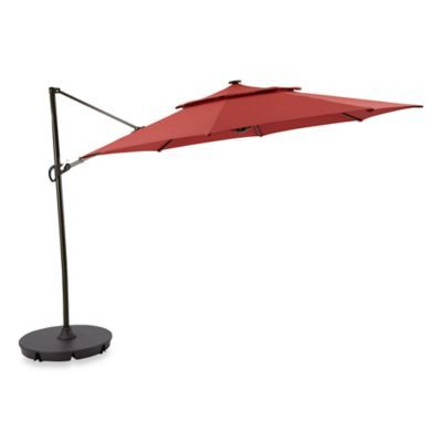 11 Round Cantilever Umbrella With Solar Lights In Salsa