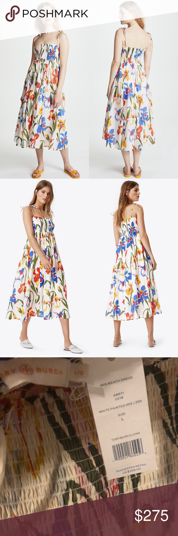 068f3715cd TORY BURCH | Convertible Smocked Iris Beach Dress TORY BURCH | Convertible  Smocked Floral Iris Beach