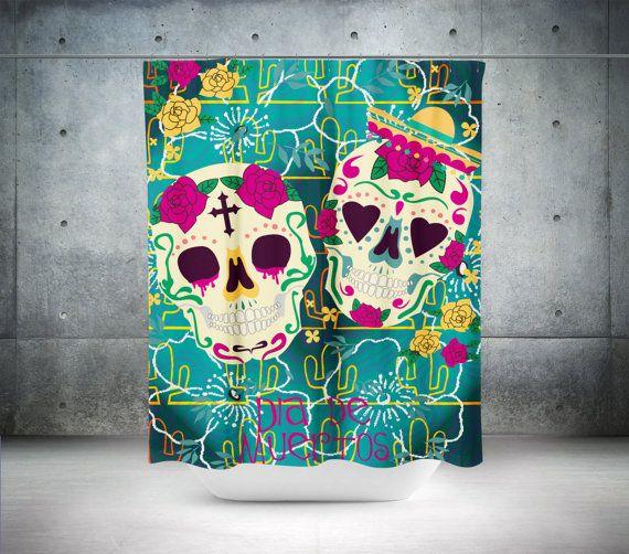 Sugar Skull Shower Curtain Skull Rose Skull Sugar Skull Bathroom Decor Calavera Curtain Day Of The Sugar Skull Shower Curtain Skull Shower Curtain Sugar Skull
