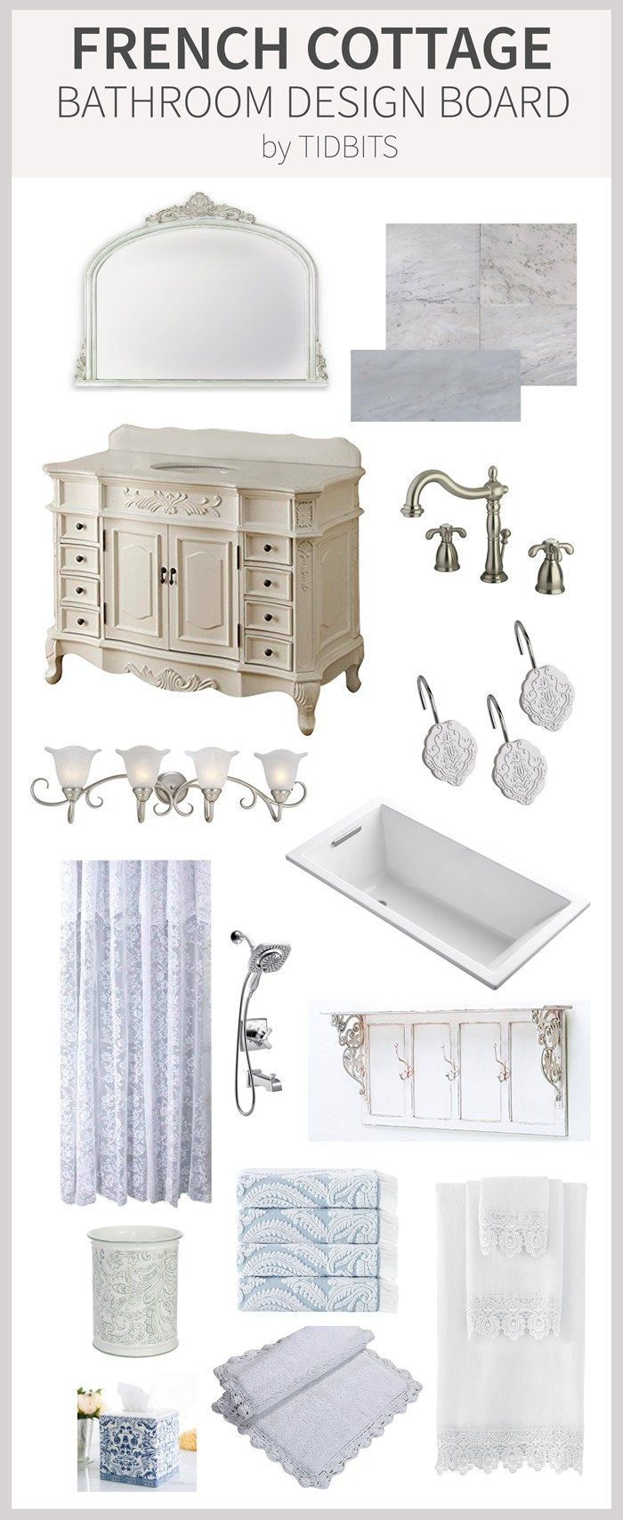 French Cottage Bathroom Design Board | DIY French Country Decor ...