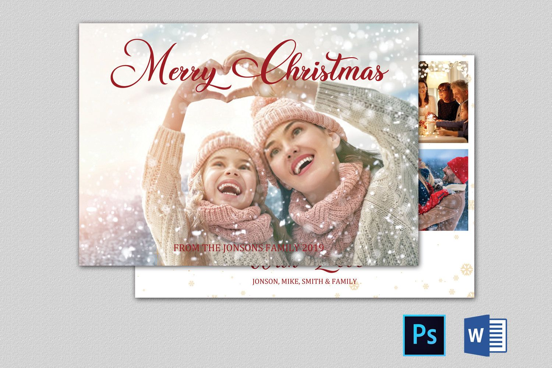 Christmas Photo Card Template 7x5 Editable Christmas Card Etsy Photo Card Template Christmas Photo Card Template Christmas Photo Cards