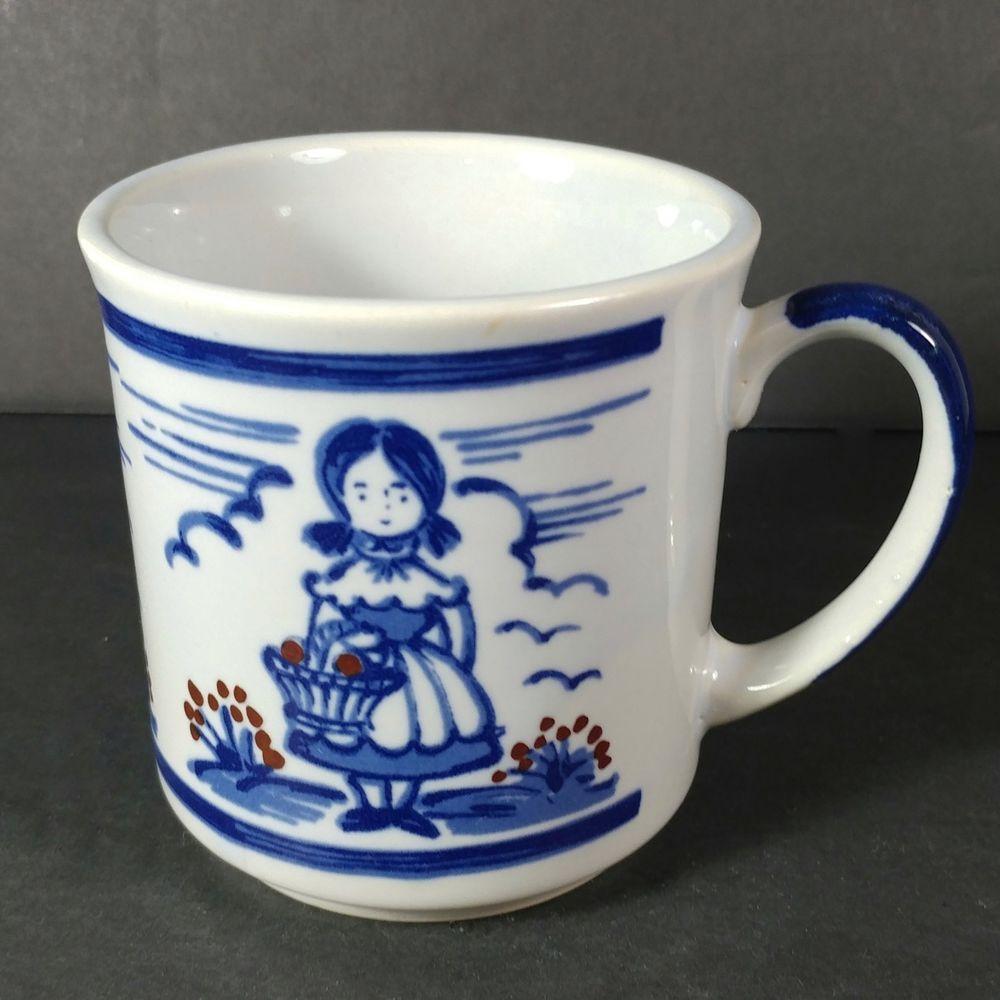 Details About Vintage Blue White Ceramic Coffee Mug White Ceramics Mugs Blue And White