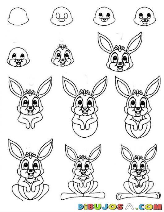 Como Aprender A Dibujar Un Conejito Para Pintar Y Colorear Dibujo De ...