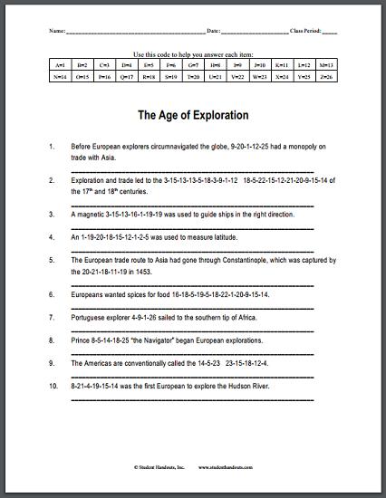 the age of exploration code puzzle worksheet free to print pdf file social studies. Black Bedroom Furniture Sets. Home Design Ideas
