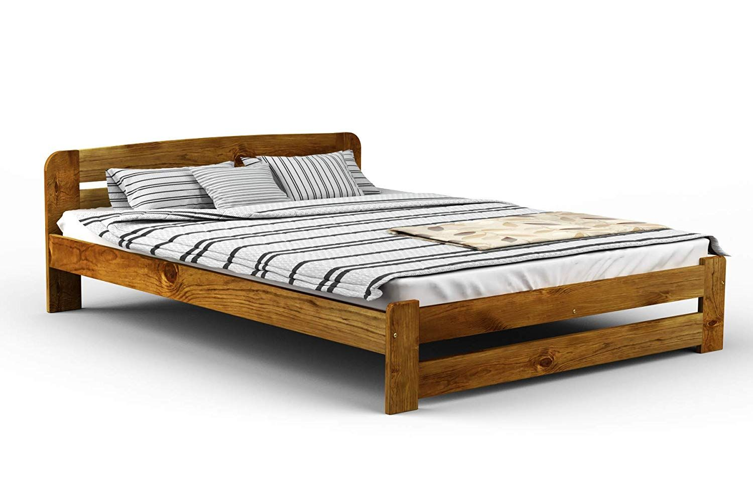 New Solid Wooden Pine Bed Frame One With Plywood Slats Oak