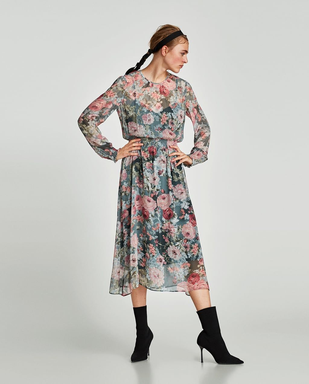 Dresses Woman All States Midi Printed Dress SaleZara View United XOkZuwPiT
