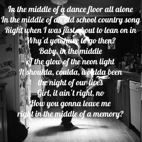 Cole Swindell Middle Of A Memory Country Music Song Lyrics