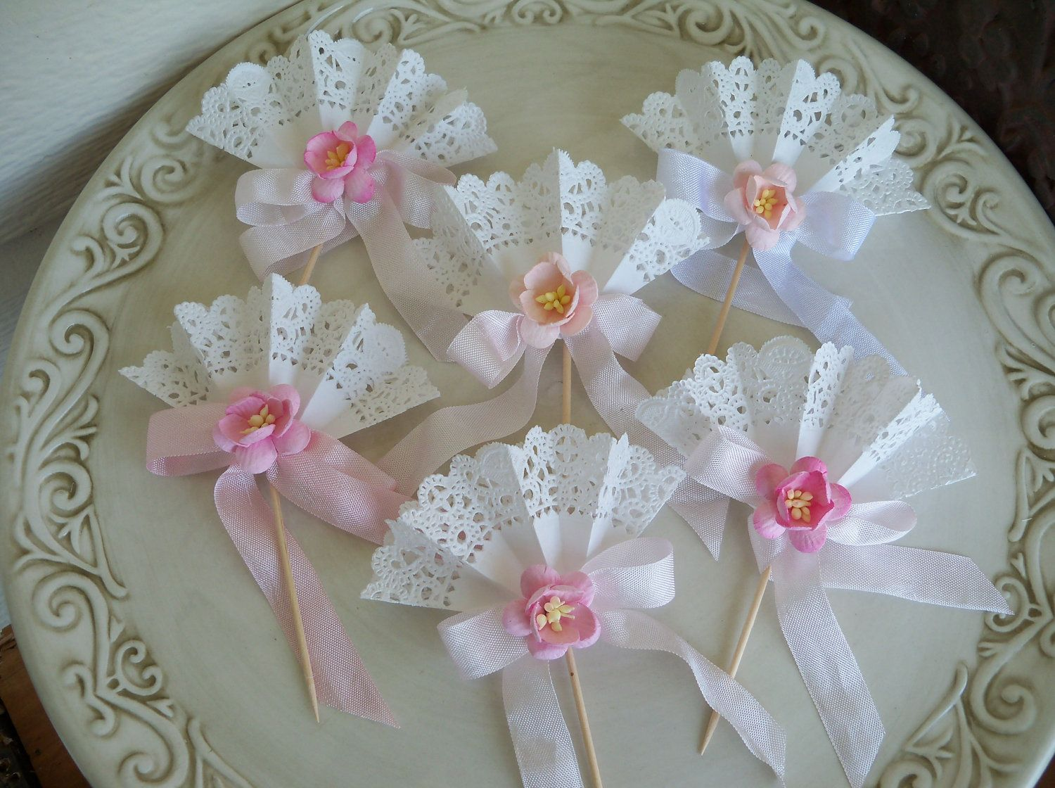 Cherry blossom Cupcake Toppers set of SIX. $12.00, via Etsy.
