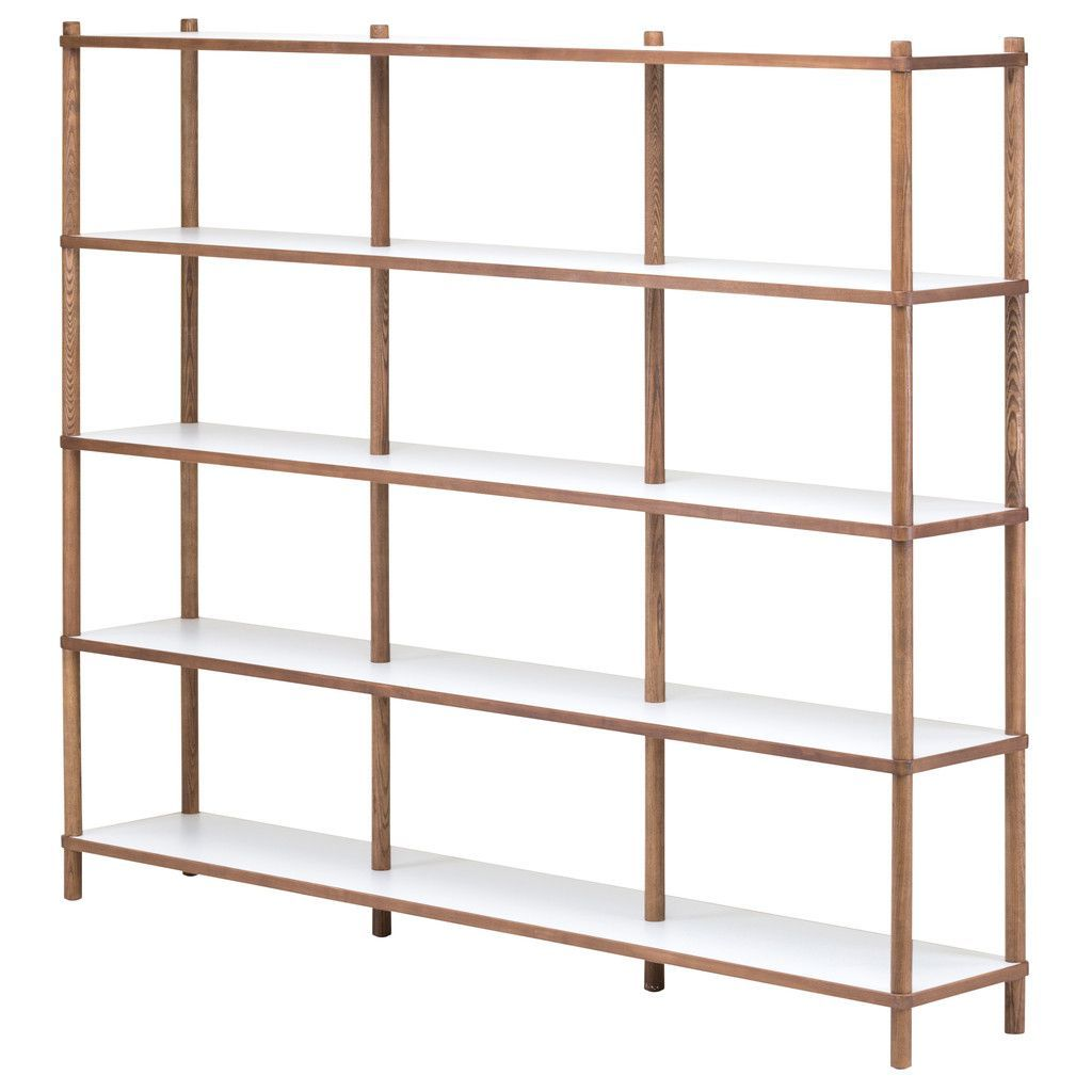 Nuevo living justin tier shelving white and grey walnut products