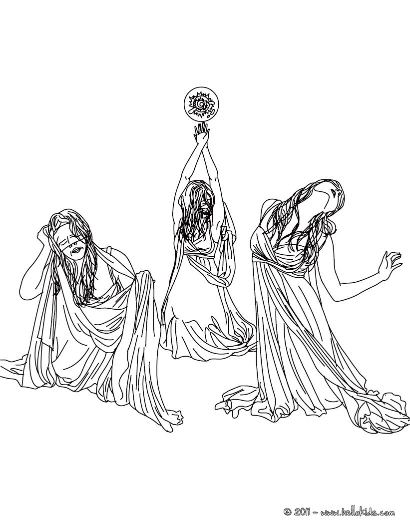 Coloring Pages Greek Goddess Coloring Pages graeae the horrid creatures of greek mythology coloring page page