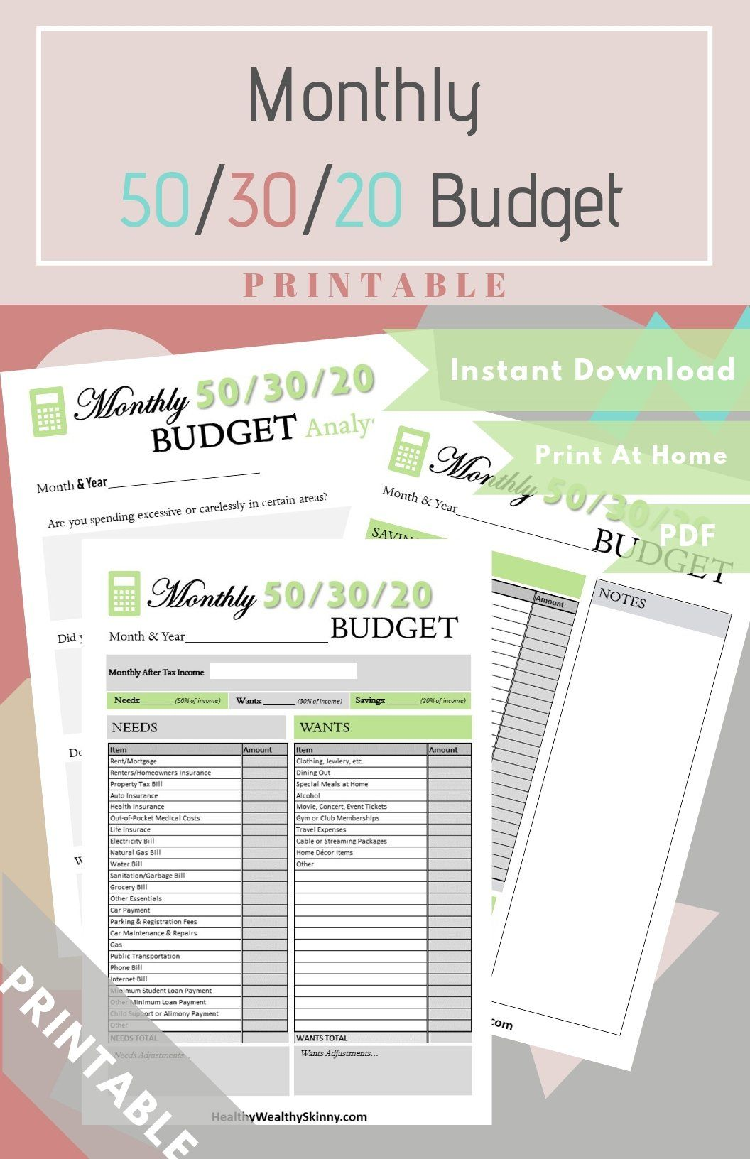 Monthly 50 30 20 Budget Worksheet Available In
