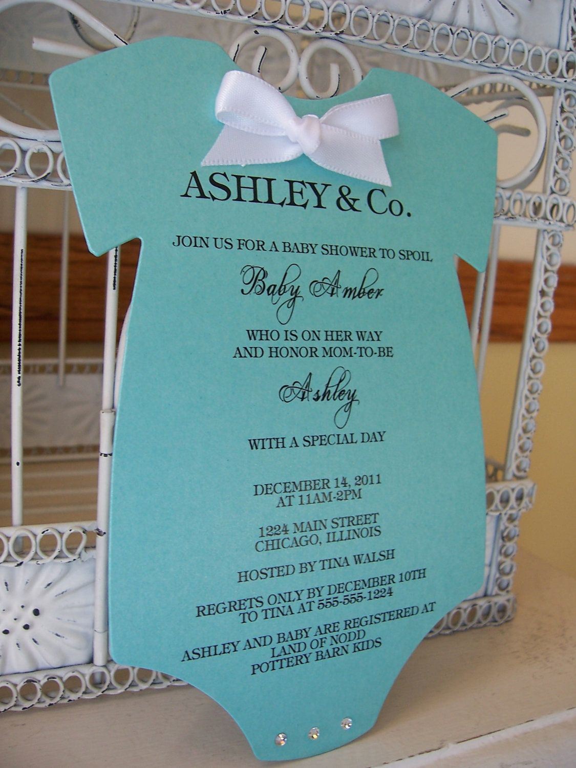 Tiffany Onesie Baby Shower Invitations Reserved for Nicole ...