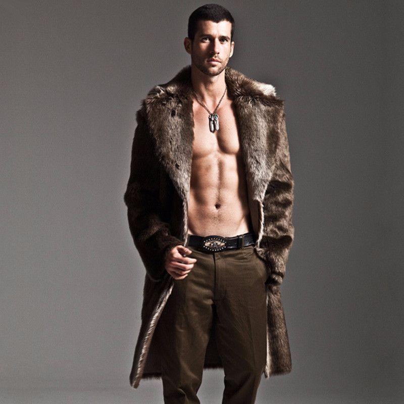 Mens faux fur coat long