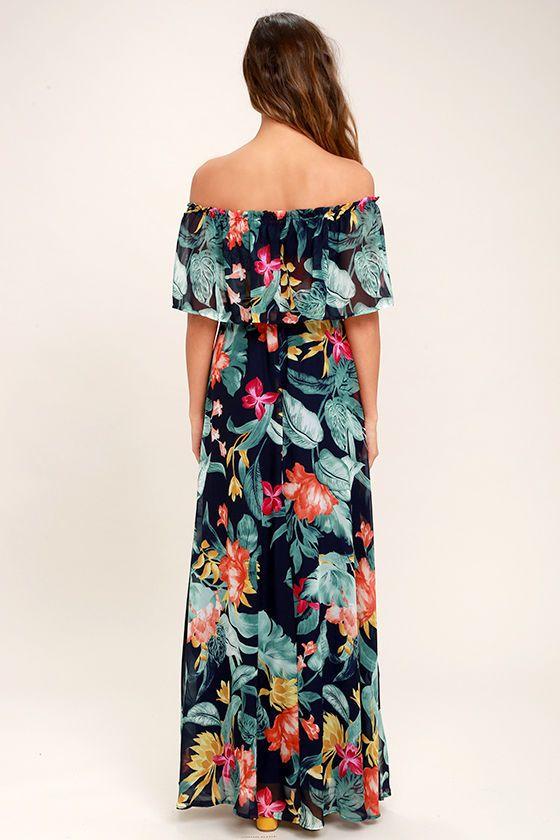 978723f386cd Infinite Love Navy Blue Print Off-the-Shoulder Maxi Dress 4