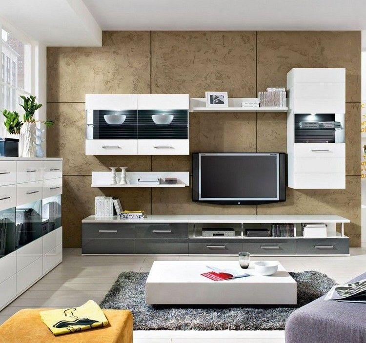 Dekorative Wandpaneele Und Weiße Wohnwand