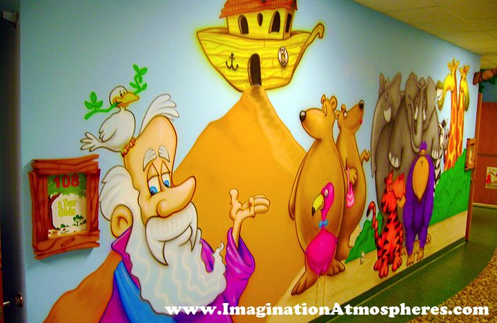 Fun cartoon childrens church murals noahs ark hand