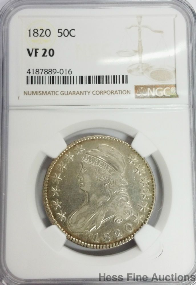 1820 Capped Bust Silver Liberty Half Dollar Ngc Vf 20 50 Cents Us Mint Coin