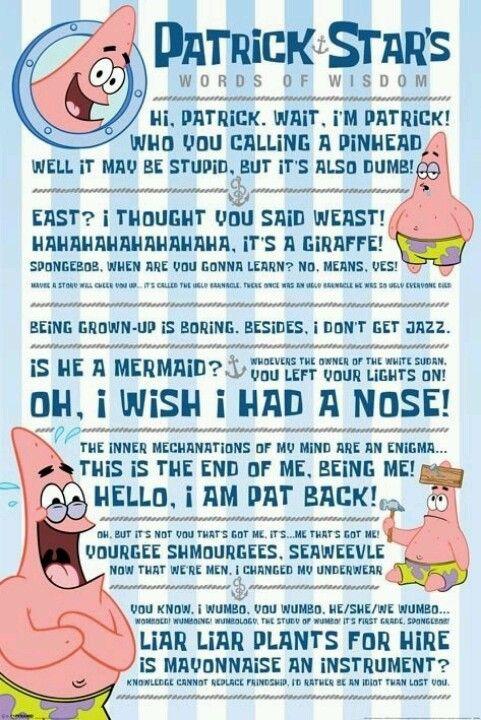 Patrick Star 3 Funniest Star Fish I Know Spongebob Quotes Patrick Quotes Spongebob Funny