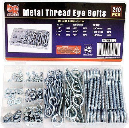 Toolshopusa 210 Piece Metal Thread Eye Bolts Assortment By Br Tools 16 11 Contents Eye Bolt 1 8 Inchx50mm 30 Pc 3 16 Flat Washer Bolt Home Hardware