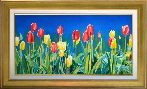 """Uplifting"" tulip garden original watercolor by PJ Cook. Large painting 24x32 with nice gold wood frame."