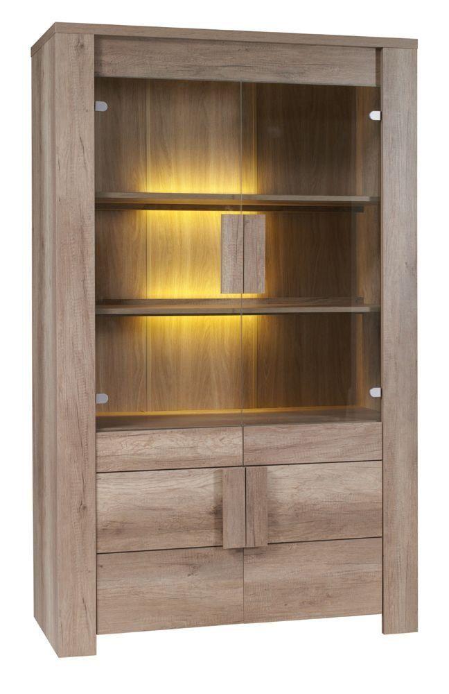 Vitrinenschrank 120 breit Baumarkt - Holzeinlegeböden (16 mm) ABS - Wohnzimmer Vitrine Modern