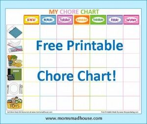Printable Chore Chart For Kids Great Way To Keep Things Organized