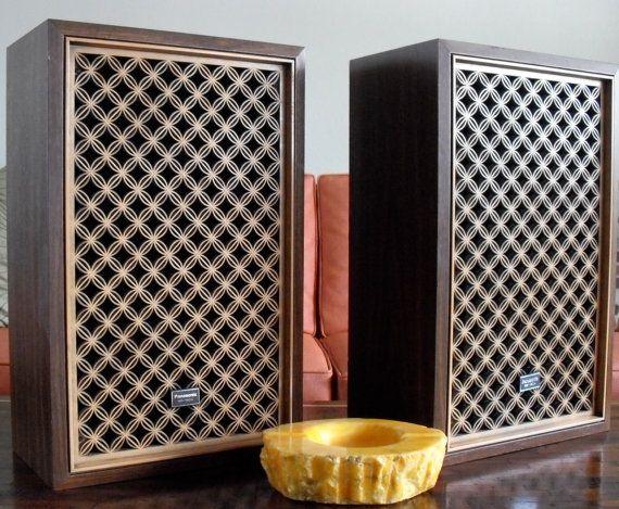Vintage Panasonic Sb 150a Speakers Pair Plastic Lattice Tall Cabinet Storage Wood Veneer