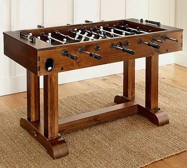 Pb foosball table essentials rustic mahogany finish for Pottery barn poker table