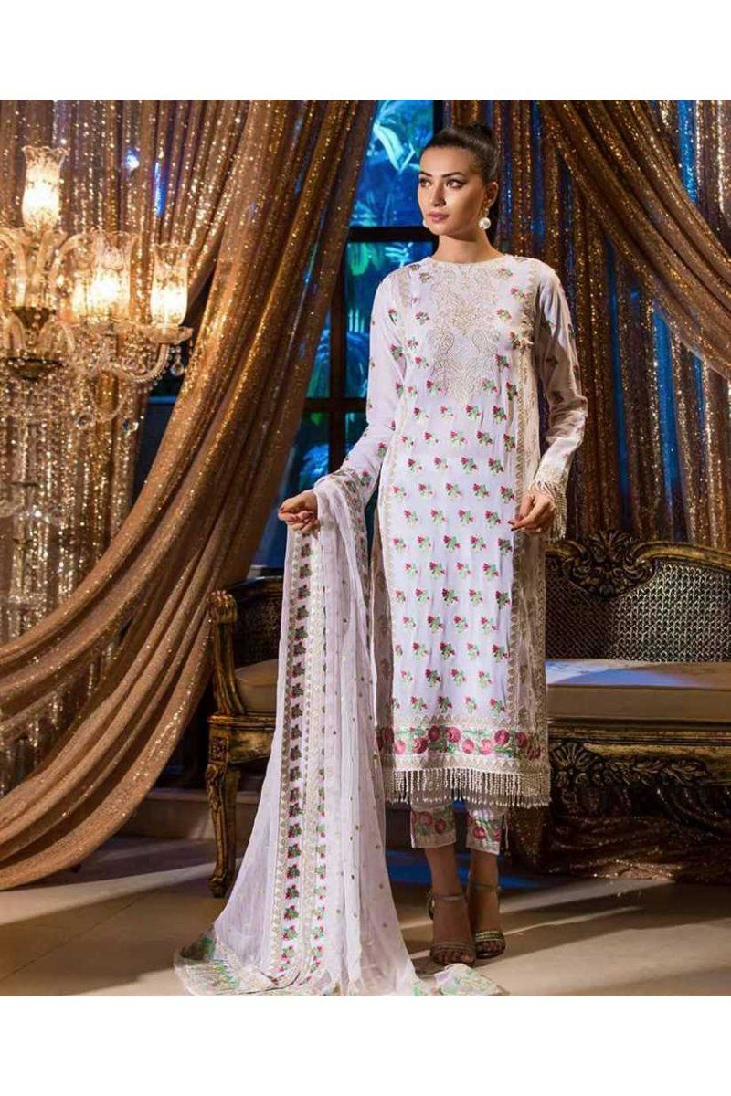 f5fd67b274 Designer Pakistani Salwar Suits Johra Gold Swiss Voile Lawn Embroidery  Collection JH-02B