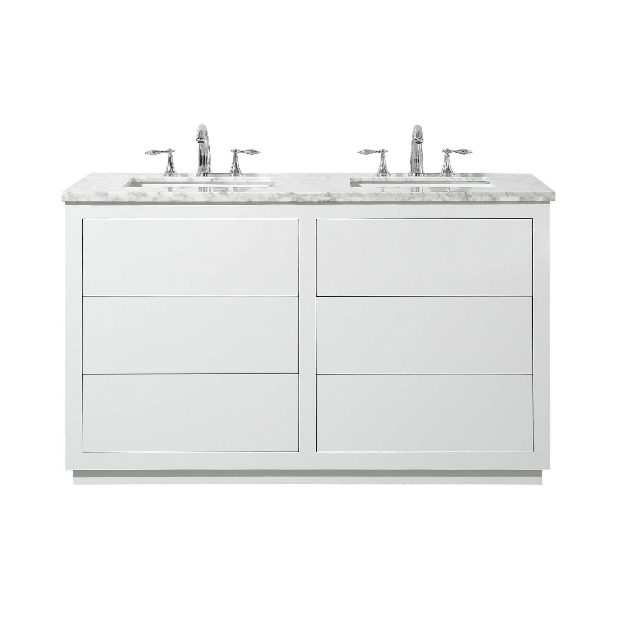 Stufurhome Lang 56 Inch White Double Sink Bathroom Vanity Bathroom Vanity Double Sink Bathroom Vanity Double Vanity Bathroom