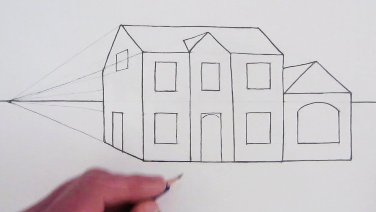How To Draw A Simple House In One Point Perspective Youtube