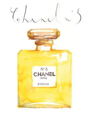 Large Chanel No 5 perfume bottle watercolor painting, 12X16 limited edition print, Paris poster, French art, Wall decor, bathroom decoration via Etsy