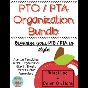 PTO / PTA Organization Binder 100 EDITABLE! Pinterest Parent