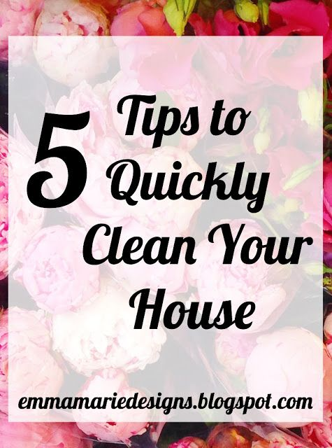 5 Tips to Quickly Clean the House! Its perfect since the holidays are coming up and i need tips on how to quickly get me house cleaned!!!