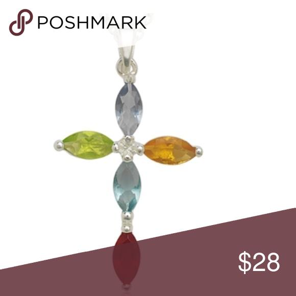 """.925 Multi-colored Stone Cross Pendant w/Chain Crafted from Crafted from Sterling Silver, Cross Pendant, Multi-colored stone accents, Pendant: 25mm x 15mm, Includes 18"""" chain.  Very pretty Jewelry Necklaces"""
