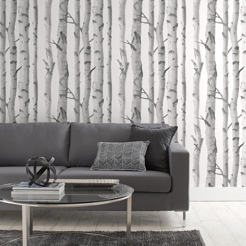 Papier peint avec motif de bouleaux rouleau double birch tree wallpaper - Papier peint avec motif ...