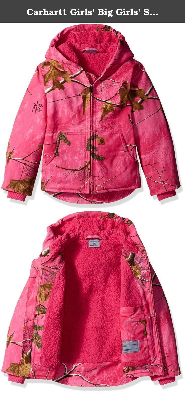 dd7b20608 Carhartt Girls' Big Girls' Sherpa Lined Zip Camo Redwood Jacket, Realtree  Xtra Pink