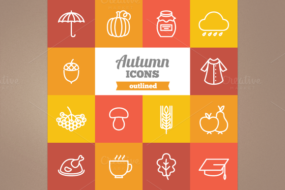 Check out Outlined autumn icons by miumiu on Creative
