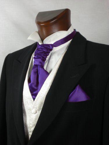 Mens and Boys Cadbury Purple Satin Wedding Cravat and Hankie (Boys)
