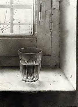 window pencil drawing. still life drawing of clear glass water on old window sill, pencil drawing- d