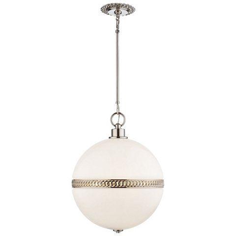 Hendricks Large Globe Pendant In Polished Nickel Ceiling
