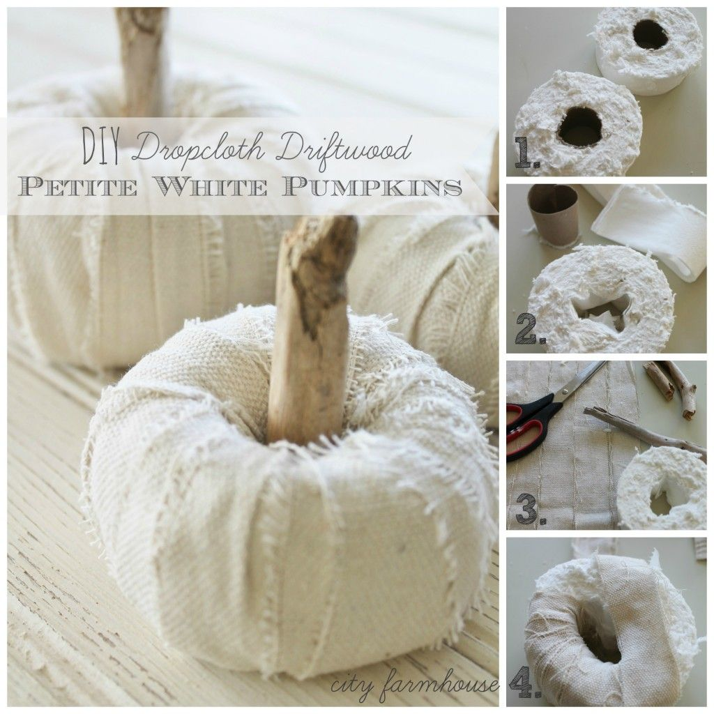 DIY Dropcloth Driftwood Petite Pumpkins-Tutorial-City Farmhouse