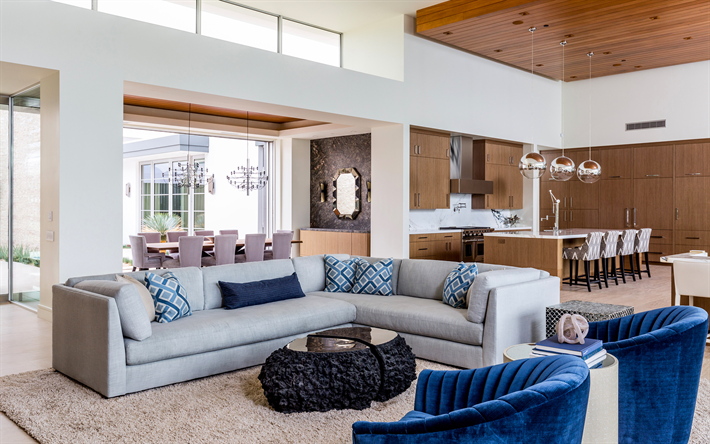 modernes appartement interieur, télécharger fonds d'écran couloir, cuisine, studio, appartement, Design ideen